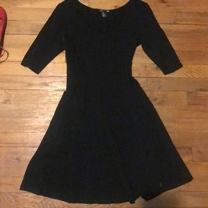 Black jersey fit and flare dress
